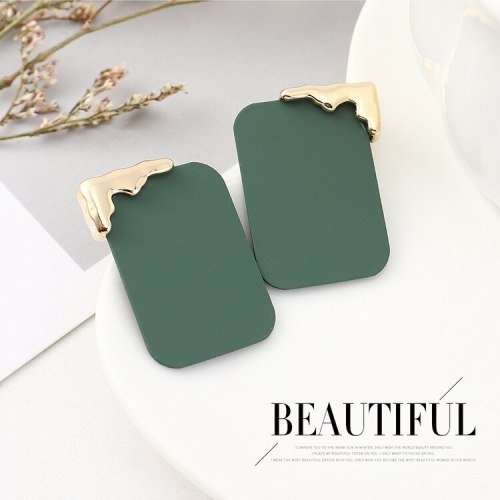 New Cool Fashion Scrub Paint Square Earrings Women's Simple and Versatile S925 Silver Needle Earrings Small Jewelry 140490
