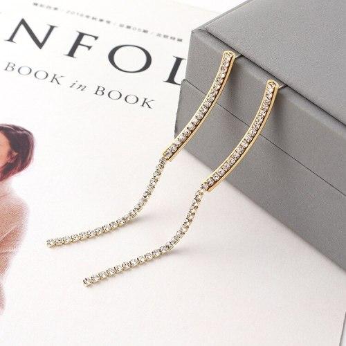 Fashion Crescent-Shaped Long Tassel Earrings Women's Simple Temperament All-match S925 Sterling Silver Needle Earrings 140155