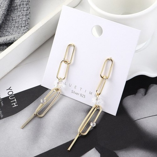 European and American Exaggerated Cool Chain Zircon Earrings Female Long Tassel S925 Silver Needle Fashion Small Jewelry 140035