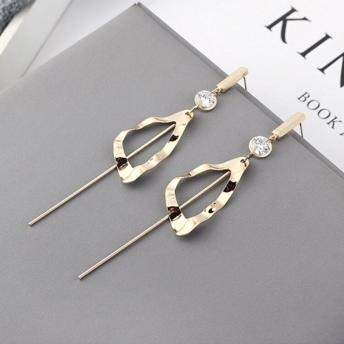 Exaggerated Simple Zircon EarringsWomen's Creative Fashion All-match Long Geometric Hollow Tassel Earrings Silver Needle 139843