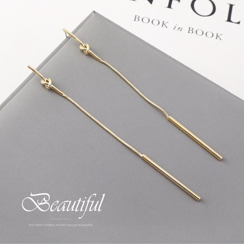 New Korean-Style Simple Long Line-Styled Small Stick Tassel Earrings Women's S925 Silver Needle 140034