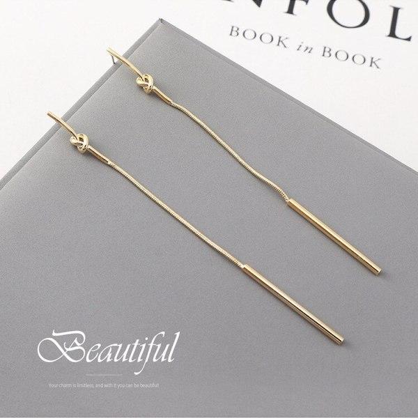 New Korean-Style Simple Long Line-Styled Small Stick Tassel Earrings Women's S925 Silver Needle 140034