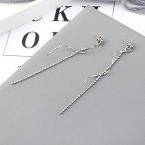 S925 Silver Pin New Korean Elegant Long Tassel Earrings Women's Fashion All-match Simple Crystal Stud Earrings 139559