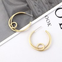New European and American Fashion Stud Earrings Women's All-match Hollow-out Circle Earrings 138883