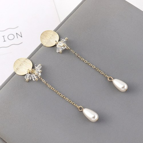 Fashion Cool Tassel Earrings Female Long Style All-match Elegant Crystal Pearl Earrings S925 Silver Needle Ear Rings 140476