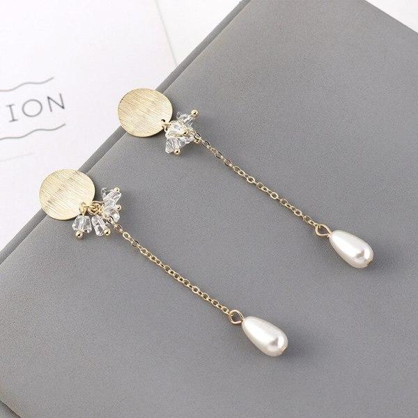 Fashion Cool Tassel Earrings Female Long Style All-match Elegant Crystal Pearl Earrings S925 Silver Needle Ear Rings 140476
