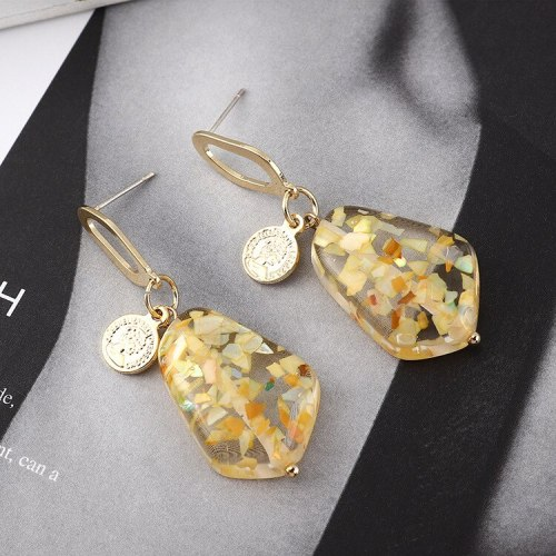 Korean Fashion Creative Irregular Geometric Resin Earrings Women's All-match Seal Avatar S925 Silver Needle Ear Rings 140144
