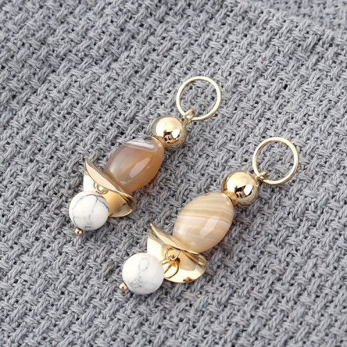 Korean-Style Creative Fashion Small Jewelry Atmosphere Cool Natural Stone Earrings Women S925 Sterling Silver Ear Pin 139831