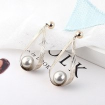 New European Exaggerated Imitation Pearl Earrings Female Geometric Drop-Shaped Earrings S925 Sterling Silver Needle 138954