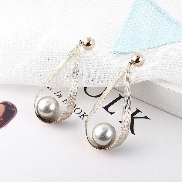 New European Exaggerated Imitation Pearl Earrings Female Geometric Drop-Shaped Earrings S925 Sterling Silver Needle 138954