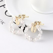 Korean Fashion Cool Knotted Stud Earrings Women's Simple Seal Ring Imitation Pearl Earrings S925 Silver Needle Earrings 138935