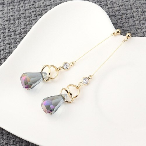 Korean Popular Temperament Long Drop-Shaped Crystal Earrings Women's Cool Tassel Earrings S925 Sterling Silver Pin 140038