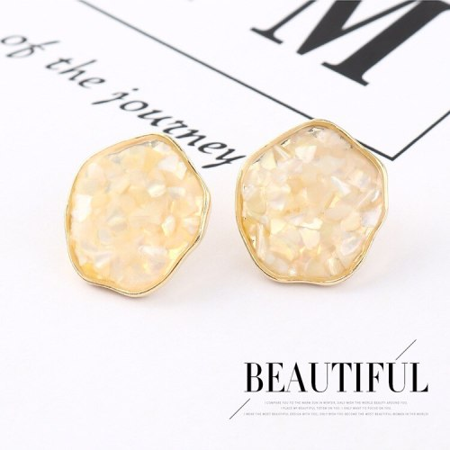 Korean Retro Fashion Hipster Shell Earrings Women's All-match S925 Silver Needle Irregular Flower Earrings Jewelry 140137