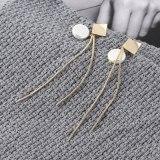 European Fashion Pearl Ear Pendant All-match Long Tassel Earrings Female Small Kite Rhombus S925 Silver Earrings 139848
