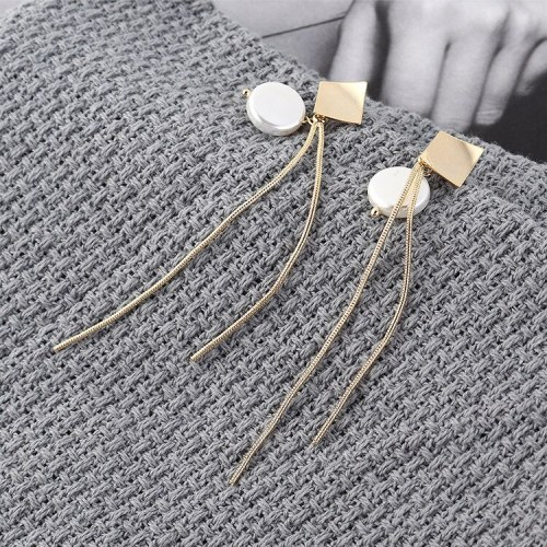 European Fashion Pearl Ear Pendant All-match Long Tassel Earrings Female Small Kite Rhombus S925 Silver Earrings 139848