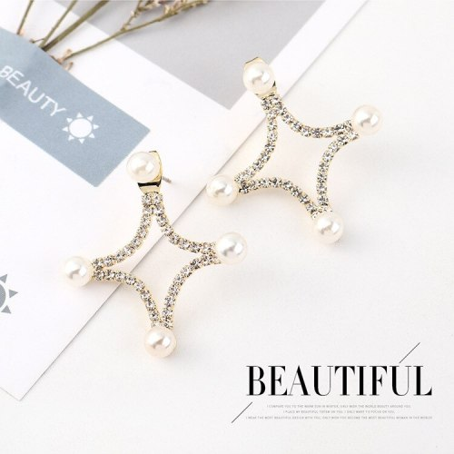 Korean Fashion Cross-Shaped Pearl Earrings Women's Simple and Versatile Hipster S925 Silver Needle Ear Stud Wholesale 140549