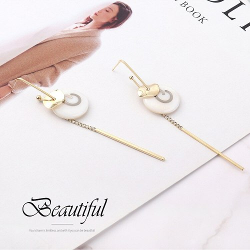 New Korean Fashion Elegant Stud Earrings Small Lotus Leaf Tassel Earrings Female S925 Silver Needle Earrings 138816