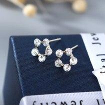 Korean-Exquisite Flower Stud Earrings Women's All-match Hipster Simple Fashion Zircon Earrings S925 Silver Pin B-4896