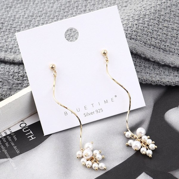 Creative Cool S-Shaped Pearl Earrings Pendant Simple Spiral 925 Silver Pin Earrings Women's Small Jewelry 140033