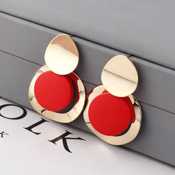 Creative Fashion Geometric Earrings Female All-match Scrub round Plate Wooden Earrings Anti-Allergy Stud Earrings 139835