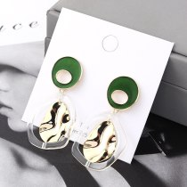 New Fashion Hipster Oil Irregular Earrings Female Retro Lotus Leaf Metal Hypoallergenic Ear Stud Ornament 140164