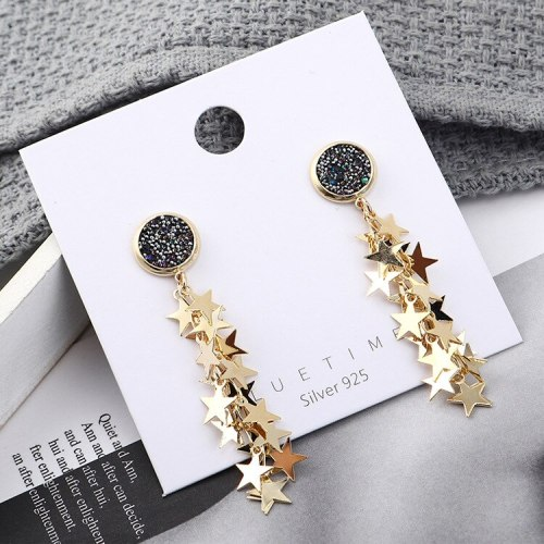 New Creative Personality Fashion Five-Pointed Star Ear Pendant Wild Long Earrings Female Hypoallergenic Needles Jewelry 140032