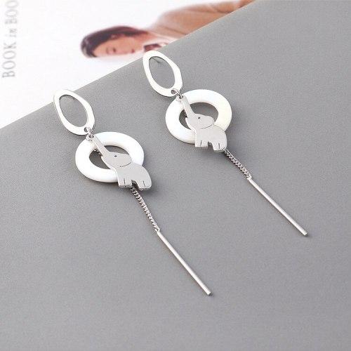 Korean Simple All-match Tassel Earrings Girl Hipster Cute Elephant Animal Earrings S925 Sterling Silver Needle Jewelry 139851