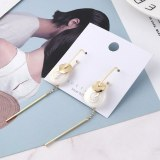 New Korean Fashion Elegant Stud Earrings Small Lotus Leaf Tassel Earrings Female S925 Silver Needle Earrings 138816