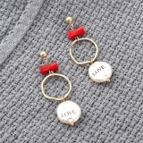 Exaggerated Creative Love Lettered Pearl Earrings Girl Hipster All-match S925 Silver Needle Ear Rings Wholesale 139846