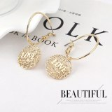 New European and American Fashion Cool Love Letter Earrings Female Simple Geometric Mesh Hollow Ear Rings 139829