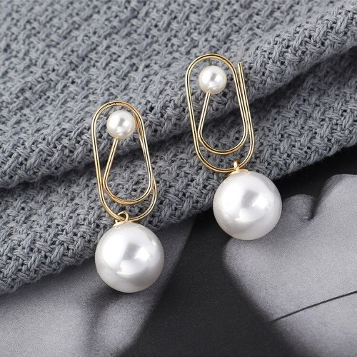Korean New Creative Cool Paper Clip Earrings Women's Simple Pearl Earrings Sterling Silver Stud Earrings Anti-Allergy 138907