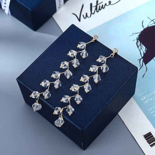 Korean-Style Crystal Makeup Brush Earrings Long Tassel Ear Pendant Elegant Fashion All-match Earrings Small Jewelry B-4951