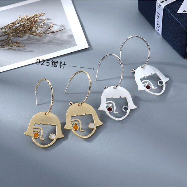 2020 The New South Korea Abstract Face Earrings Girl Silhouettes Creative Painting In Oils Earrings Jewelry B-4865