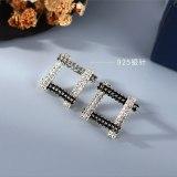 Korean-Style Full Diamond Stud Earrings Women's Simple and Versatile Fashion Diamond Earrings S925 Silver Pin Jewelry B-4890