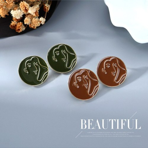 S925 Silver Pin Korean-Style Abstract Face Earrings Women's Outline Simple Painted Oil Stud Earrings B-4862