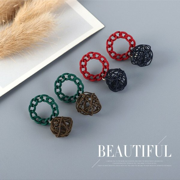 Korean Creative Wire Ball Ball Earrings Girl's All-match Fashion Fashion Frosted Hollow Earrings S925 Silver Needle B-4869