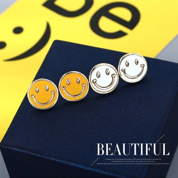 S925 Silver Needle Smiley Face Stud Earrings Girl 2020 Korean Simple Hipster All-match Smile Earrings Small Jewelry B-4949