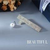 S925 Silver Needle Pearl Earrings Female European Simple Creative Exaggerated Personality Asymmetric Digital Earrings B-4888