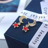 Fashion Simple Pearl Stud Earrings Female Zircon Star Moon Earrings S925 Silver Needle Set Jewelry B-4882