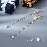 Korean Style Ins Style Earrings Fashion Head Pearl Earrings Women's Long Cool Tassel Stud Earrings 925 Silver Pin B-4891