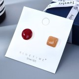 S925 Silver Pin New Hipster Geometric Round Stud Earrings Women's Korean-Style All-match Painted Oil Earrings B-4944