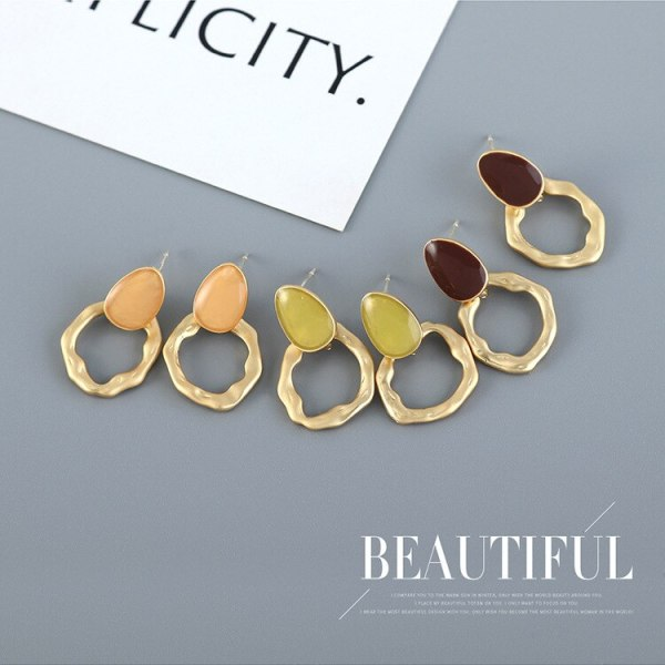 Fashion Hipster Oil Geometric Earrings Women's Simple and Versatile S925 Silver Needle Stud Earrings Jewelry B-4867