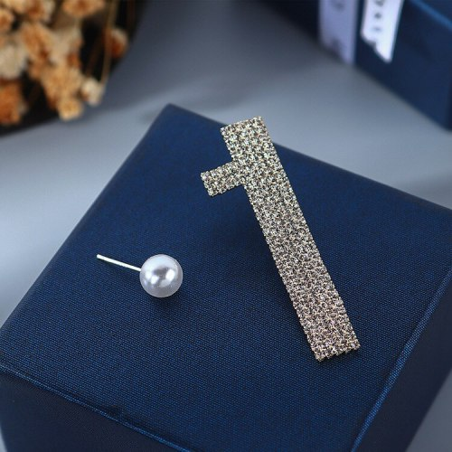 S925 Silver Needle Pearl Earrings Female European Simple Creative Exaggerated Personality Asymmetric Digital Earrings B-4888