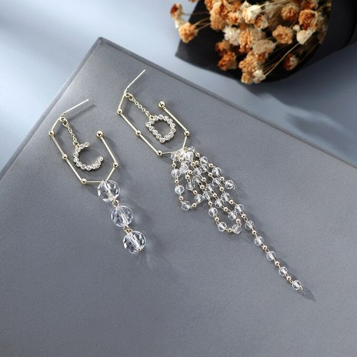 Korean Ins Wind Lettered Crystal Earrings Exaggerated Creative Asymmetric Tassel Earrings Female 925 Silver Pin Jewelry B-4887