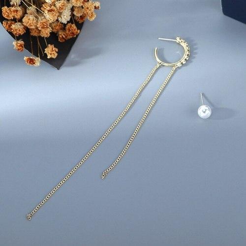 2020 New Style Asymmetric Cool Pearl Stud Earrings Female Creative All-match Temperament Tassel Earrings S925 Silver Pin B-4885