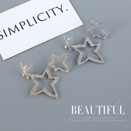 Creative Exaggerated Asymmetric Five-Pointed Star Earrings Women's Diamond-Studded Fashion Temperament S925 Silver Needle B-4868