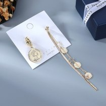 French Style Elegant Earrings Women's Creative Exaggerated Asymmetric Roman Head Earrings S925 Silver Needle Decoration B-4883