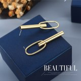 Fashion Simple Metal Earrings Women's Asymmetrical Creative Personalized Earrings Gold Plated S925 Silver Pin Jewelry B-4889