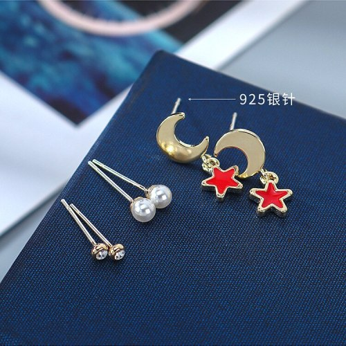 Fashion Simple Pearl Stud Earrings Female Zircon Star Moon Earrings S925 Silver Needle Set Jewelry B-4882