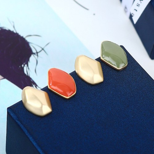 S925 Silver Needle Earrings European Simple Avocado Green Color Hipster Earrings Female All-match Ins Wind Earrings B-4945
